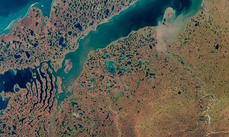 Arctic Permafrost melting in Liverpool Bay in Canada's Northwest Territories