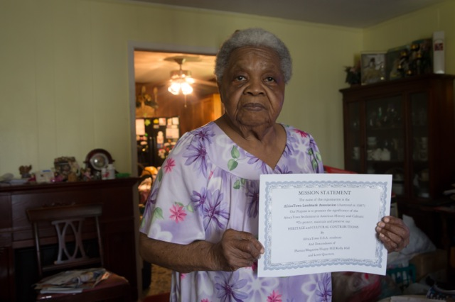 Community activist Ariela Philip Scraig, 84, a life long resident of Africatown in Mobile, Alabama. She helped Africatown get on the National Register of Historic Places, and is now fighting against tar sands developments.
