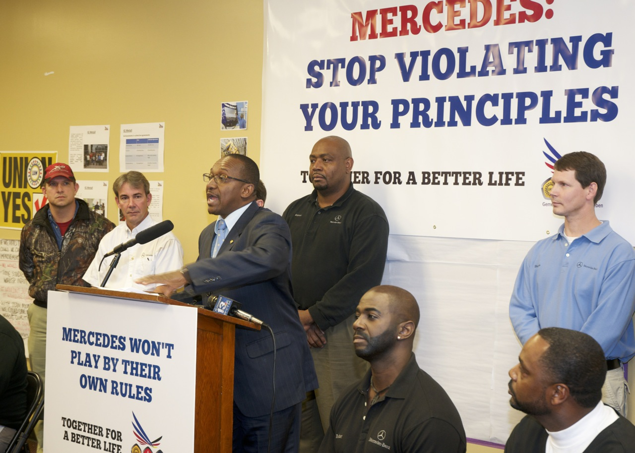 Mercedes workers hold press conference on anti-union harassment by German company management: Kenny Walters